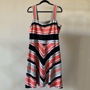 Striped Coral Chevron Banana Republic Milly Dress
